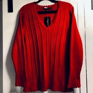 Plus Size 2X JP Deep Red Cable Knit V-neck Sweater